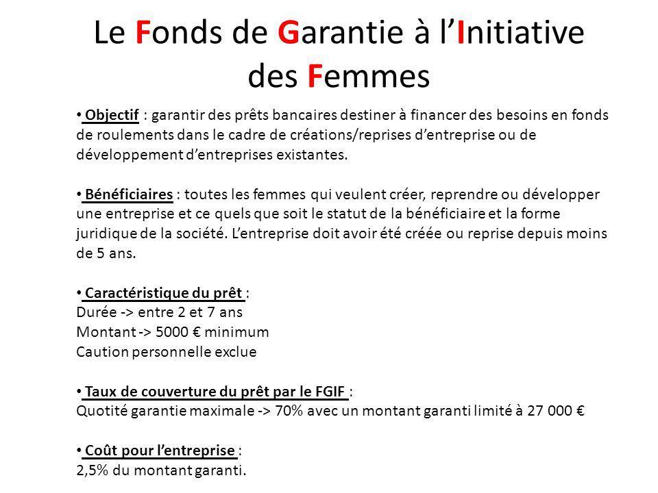 Le Fonds de Garantie à lInitiative des Femmes Objectif : garantir des prêts bancaires destiner à financer des besoins en fonds de roulements dans le cadre de créations/reprises dentreprise ou de développement dentreprises existantes.