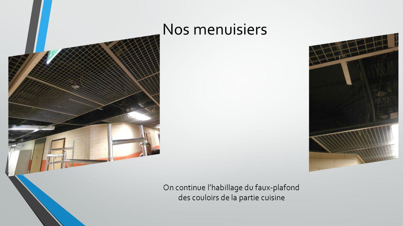 Nos menuisiers On continue lhabillage du faux-plafond des couloirs de la partie cuisine