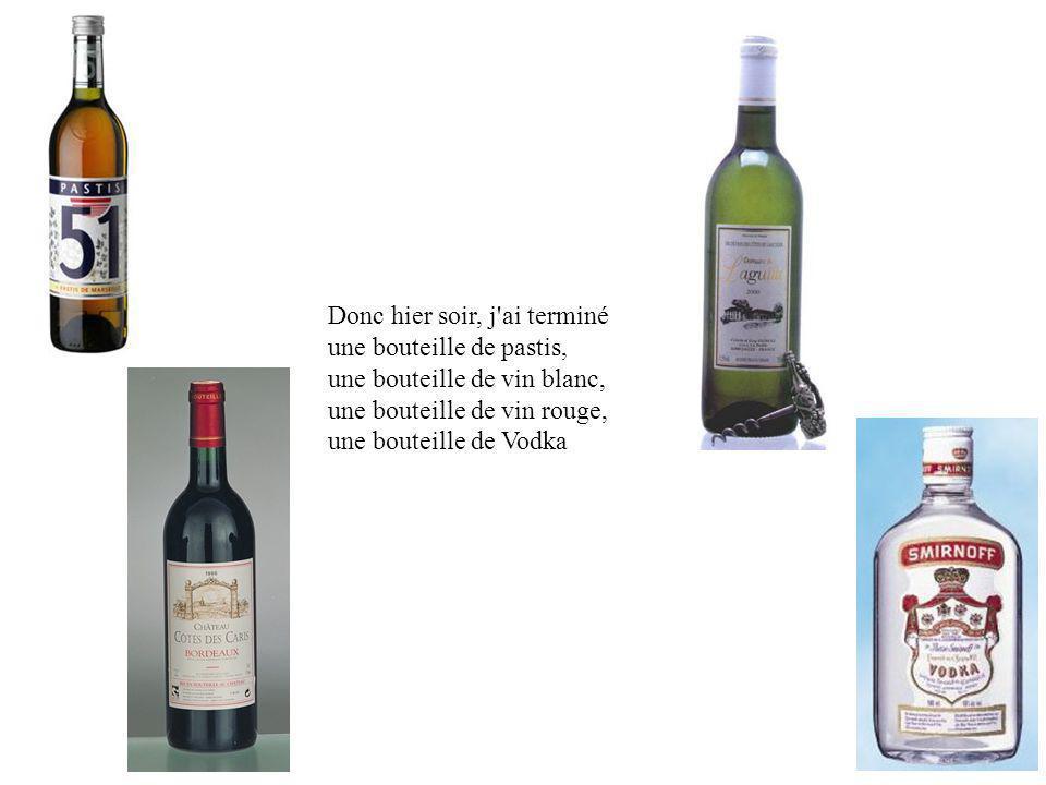 Donc hier soir, j ai terminé une bouteille de pastis, une bouteille de vin blanc, une bouteille de vin rouge, une bouteille de Vodka