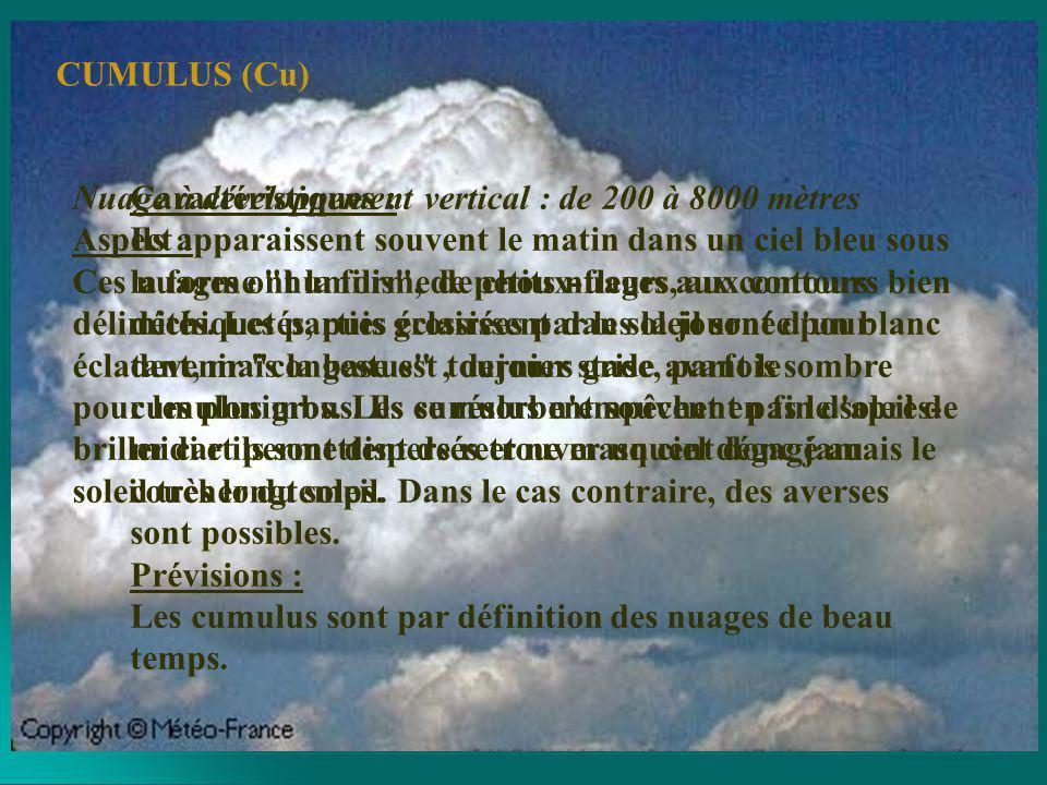 Nuages de moyenne altitude : de 2000 à 6000 mètres Aspect : Couche blanche et grisâtre, présentant des ombres, en forme de galets ou de rouleaux; peuvent être soudés ou non.