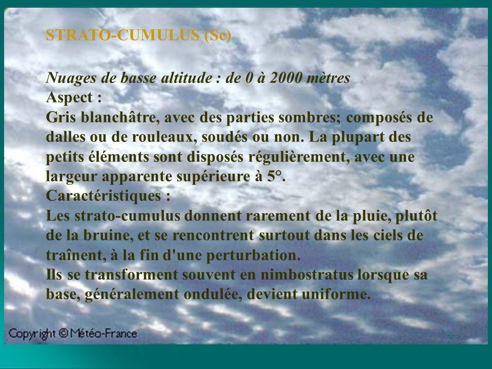 Nuage à développement vertical : base de 300 mètres, sommet entre 4000 et 18000 mètres Aspect : Ces nuages ont la forme de gros choux-fleurs, ressemblant à une tour.