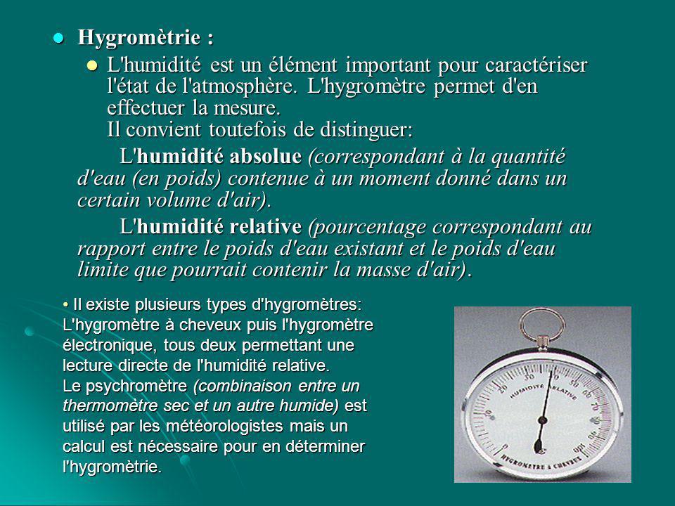 Pression atmosphérique : Pression atmosphérique : Le baromètre a pour fonction de mesurer la pression atmosphérique.