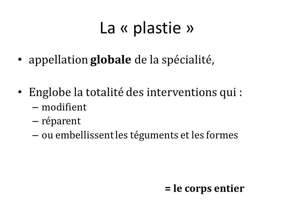 La « plastie » appellation globale de la spécialité, Englobe la totalité des interventions qui : – modifient – réparent – ou embellissent les téguments et les formes = le corps entier