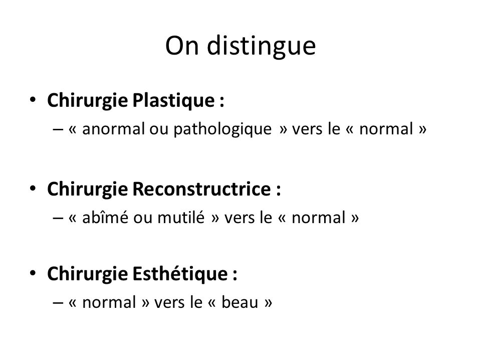 On distingue Chirurgie Plastique : – « anormal ou pathologique » vers le « normal » Chirurgie Reconstructrice : – « abîmé ou mutilé » vers le « normal