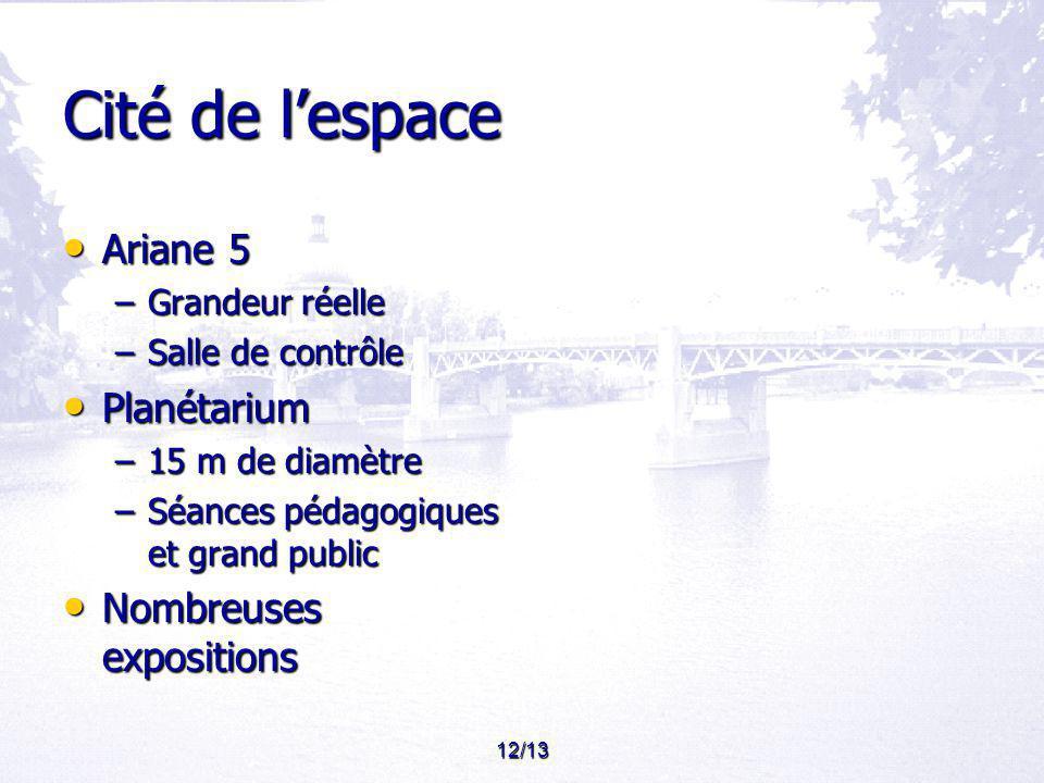 12/13 Cité de lespace Ariane 5 Ariane 5 –Grandeur réelle –Salle de contrôle Planétarium Planétarium –15 m de diamètre –Séances pédagogiques et grand public Nombreuses expositions Nombreuses expositions