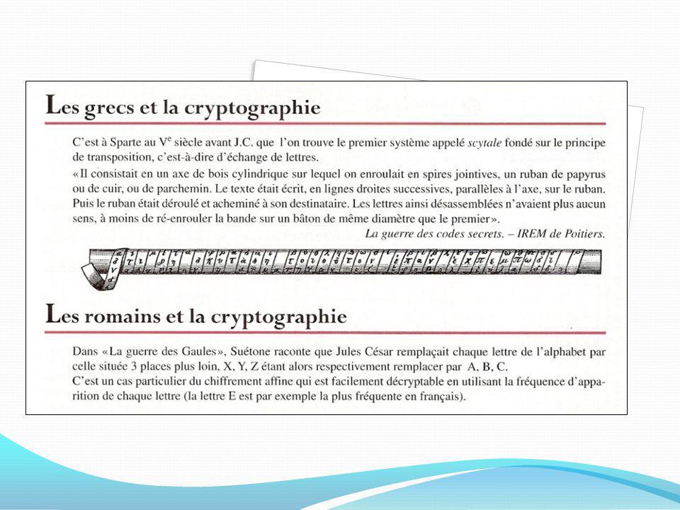 La cryptographie est lensemble des méthodes utilisées pour préserver le secret dun message. Lenvoi de messages secrets a toujours été un besoin pour l