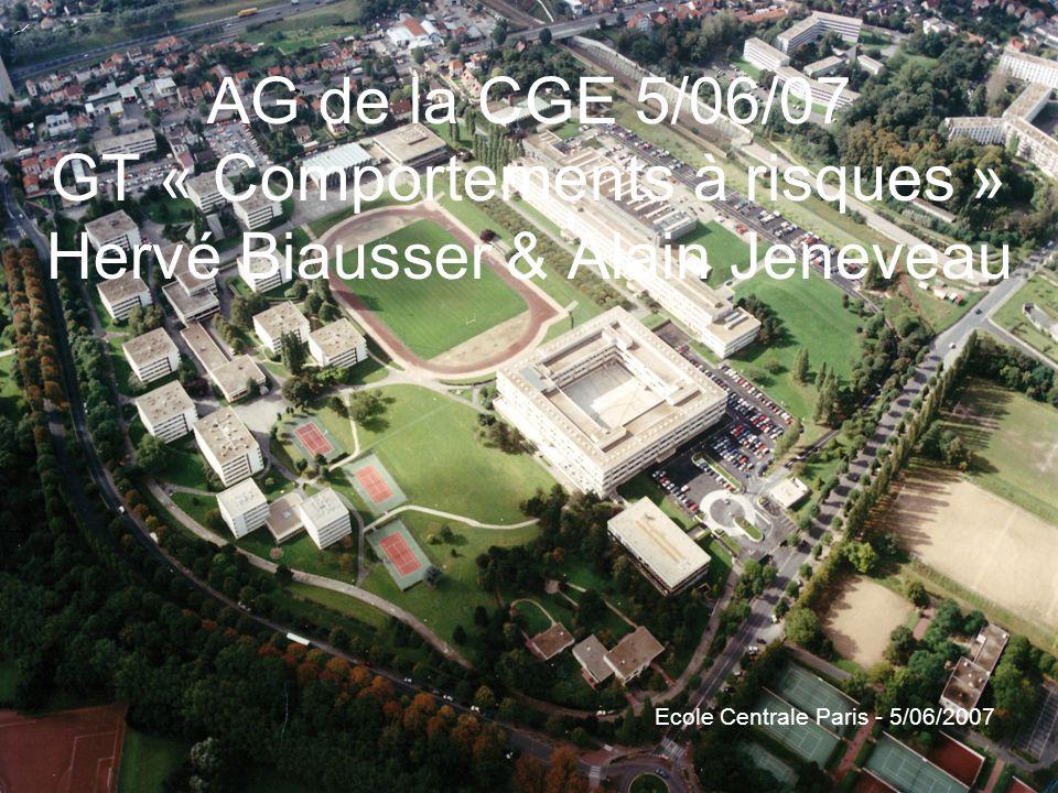 AG de la CGE 5/06/07 GT « Comportements à risques » Hervé Biausser & Alain Jeneveau Ecole Centrale Paris - 5/06/2007