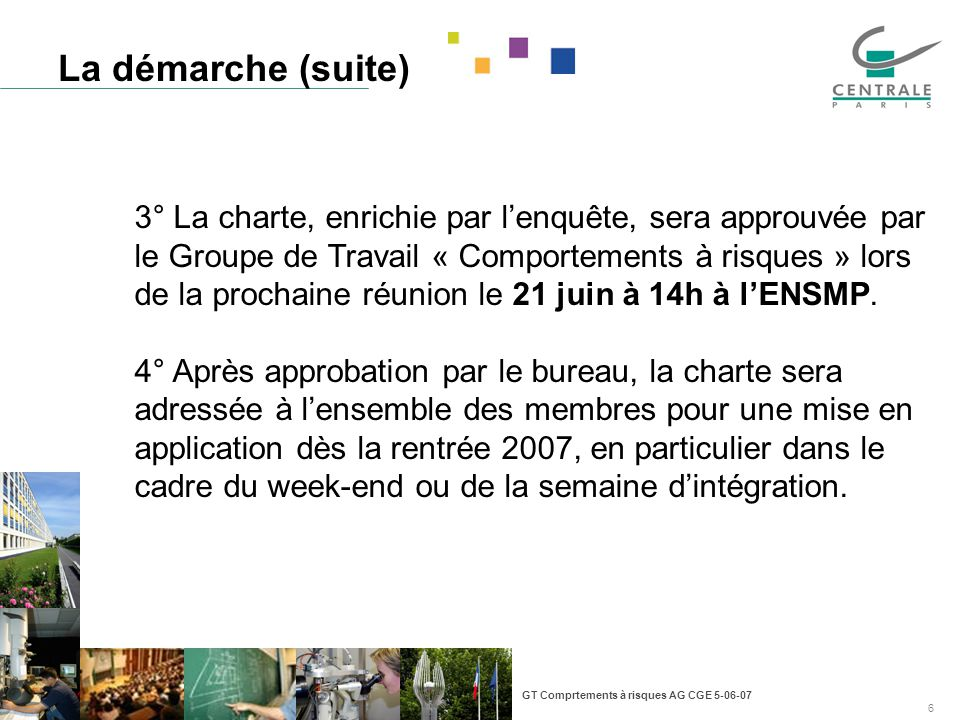 GT Comprtements à risques AG CGE 5-06-07 6 La démarche (suite) 3° La charte, enrichie par lenquête, sera approuvée par le Groupe de Travail « Comportements à risques » lors de la prochaine réunion le 21 juin à 14h à lENSMP.