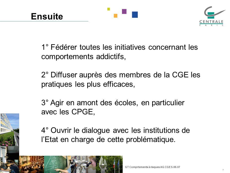 GT Comprtements à risques AG CGE 5-06-07 7 Ensuite 1° Fédérer toutes les initiatives concernant les comportements addictifs, 2° Diffuser auprès des me