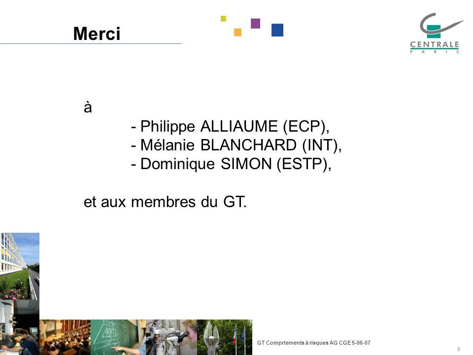 GT Comprtements à risques AG CGE 5-06-07 8 Merci à - Philippe ALLIAUME (ECP), - Mélanie BLANCHARD (INT), - Dominique SIMON (ESTP), et aux membres du GT.
