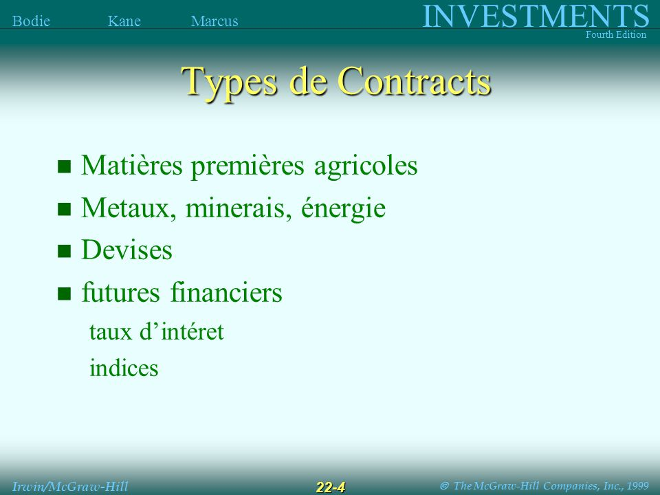 The McGraw-Hill Companies, Inc., 1999 INVESTMENTS Fourth Edition Bodie Kane Marcus Irwin/McGraw-Hill 22-4 Matières premières agricoles Metaux, minerai