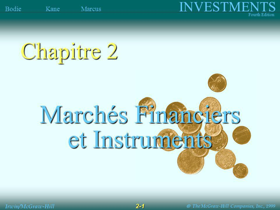 The McGraw-Hill Companies, Inc., 1999 INVESTMENTS Fourth Edition Bodie Kane Marcus 2-2 Irwin/McGraw-Hill Classes dactifs financiers Classes dactifs financiers Dette - Marché monétaire - Obligations Actions Actifs Dérivés