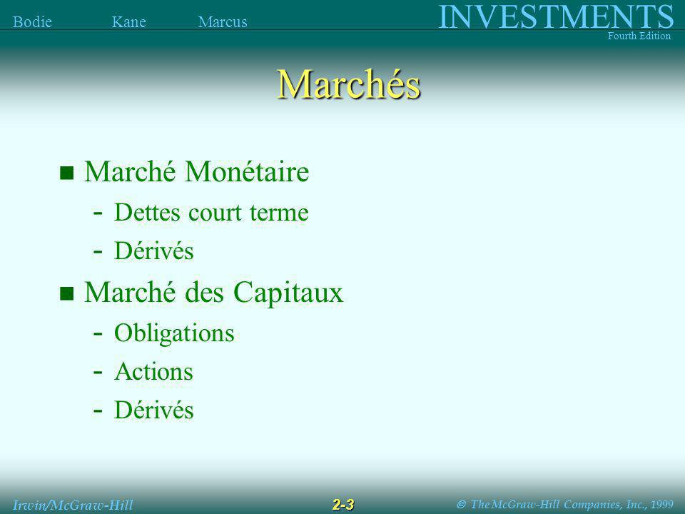The McGraw-Hill Companies, Inc., 1999 INVESTMENTS Fourth Edition Bodie Kane Marcus 2-3 Irwin/McGraw-Hill Marchés Marché Monétaire - Dettes court terme