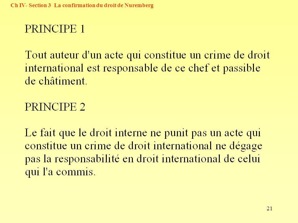 21 Ch IV- Section 3 La confirmation du droit de Nuremberg