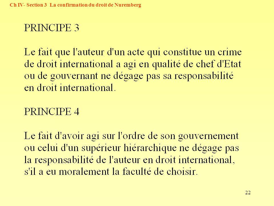 22 Ch IV- Section 3 La confirmation du droit de Nuremberg