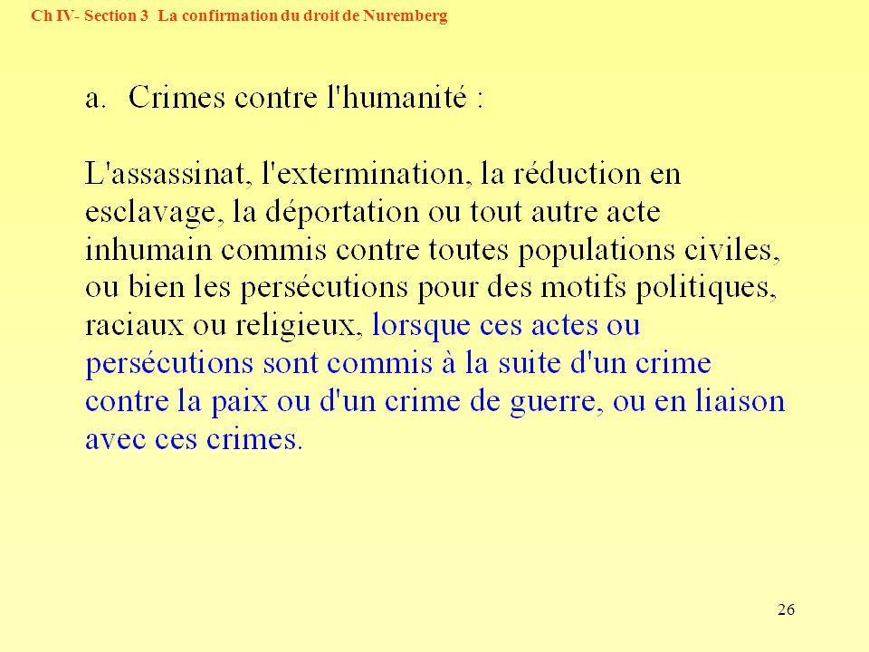 26 Ch IV- Section 3 La confirmation du droit de Nuremberg