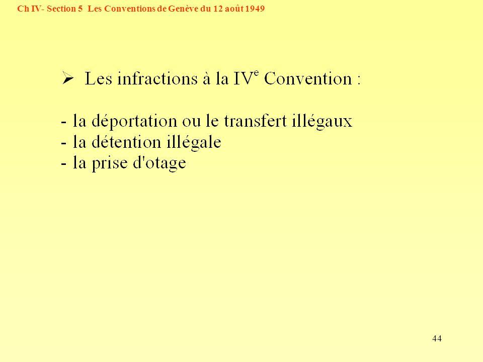 44 Ch IV- Section 5 Les Conventions de Genève du 12 août 1949