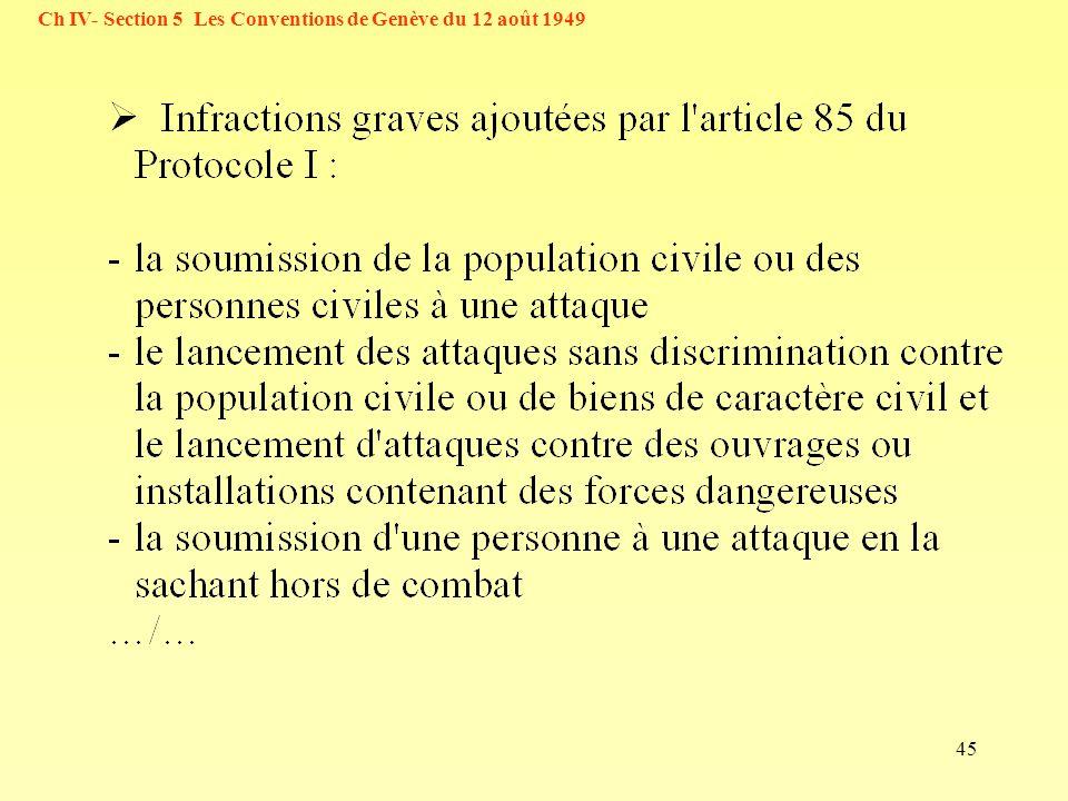 45 Ch IV- Section 5 Les Conventions de Genève du 12 août 1949