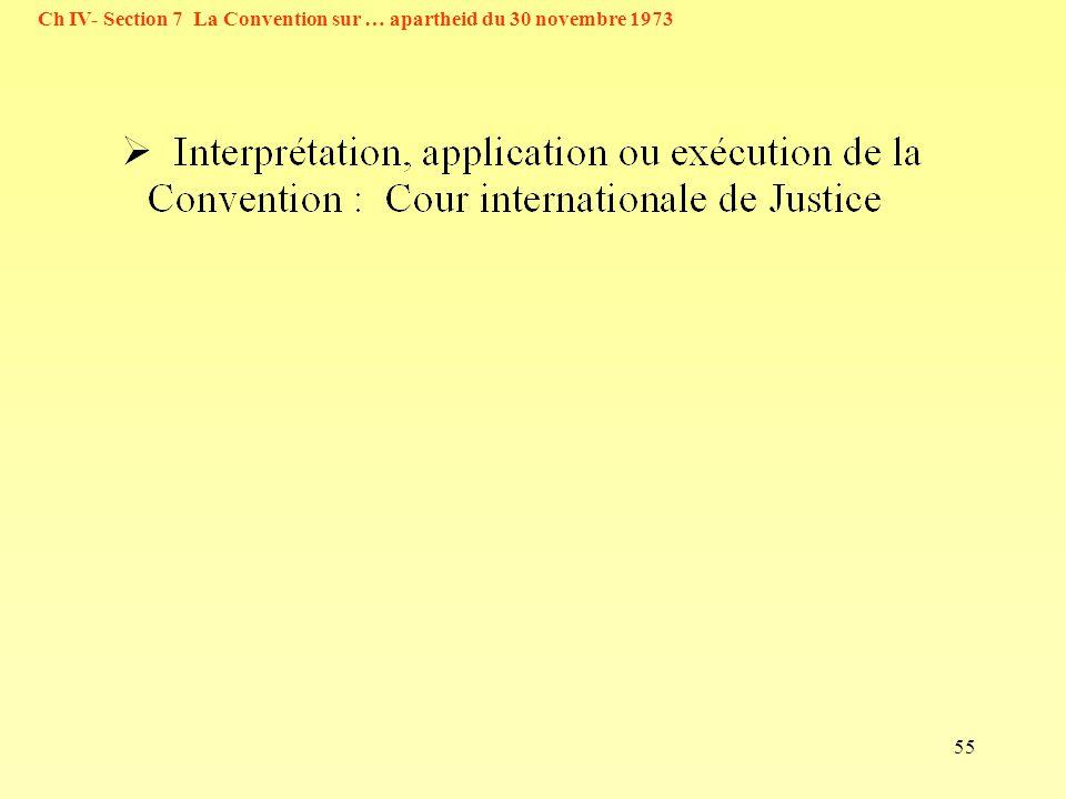 55 Ch IV- Section 7 La Convention sur … apartheid du 30 novembre 1973
