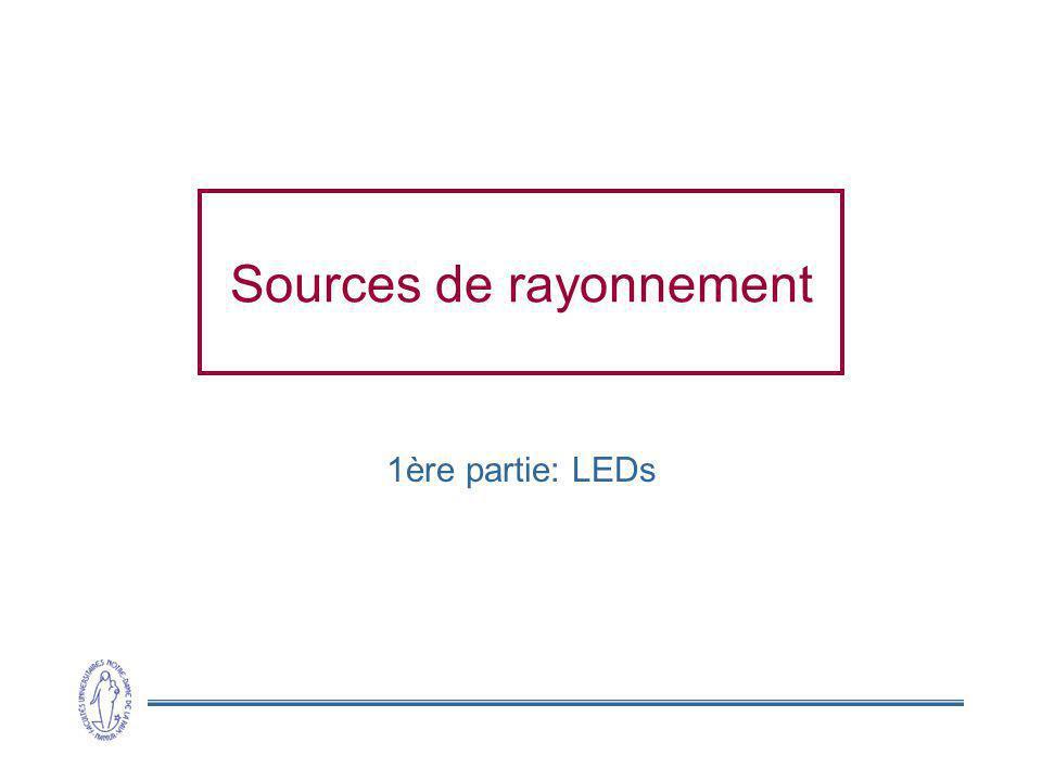 2 Diodes électro-luminescentes (LEDs) Principe inverse de la photo-diode polarisation dans le sens passant Tension extérieure passage des porteurs majoritaires vers lautre région injection de porteurs minoritaires