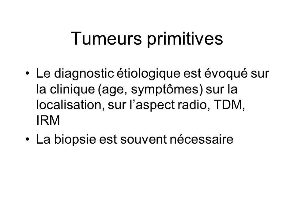 Tumeurs primitives Le diagnostic étiologique est évoqué sur la clinique (age, symptômes) sur la localisation, sur laspect radio, TDM, IRM La biopsie est souvent nécessaire