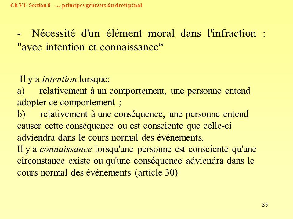 35 - Nécessité d'un élément moral dans l'infraction :
