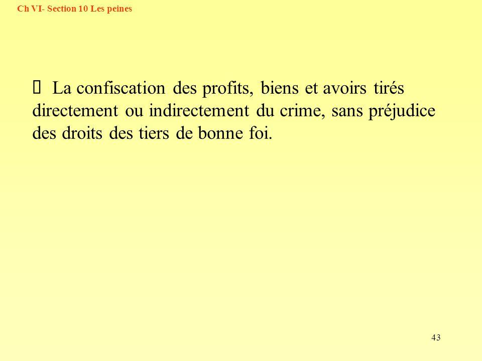 43 La confiscation des profits, biens et avoirs tirés directement ou indirectement du crime, sans préjudice des droits des tiers de bonne foi. Ch VI-