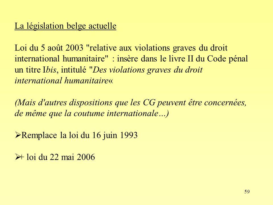 59 La législation belge actuelle Loi du 5 août 2003