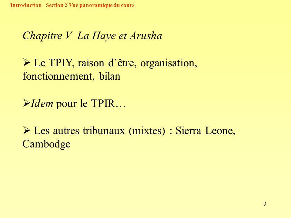 9 Chapitre V La Haye et Arusha Le TPIY, raison dêtre, organisation, fonctionnement, bilan Idem pour le TPIR… Les autres tribunaux (mixtes) : Sierra Leone, Cambodge Introduction - Section 2 Vue panoramique du cours
