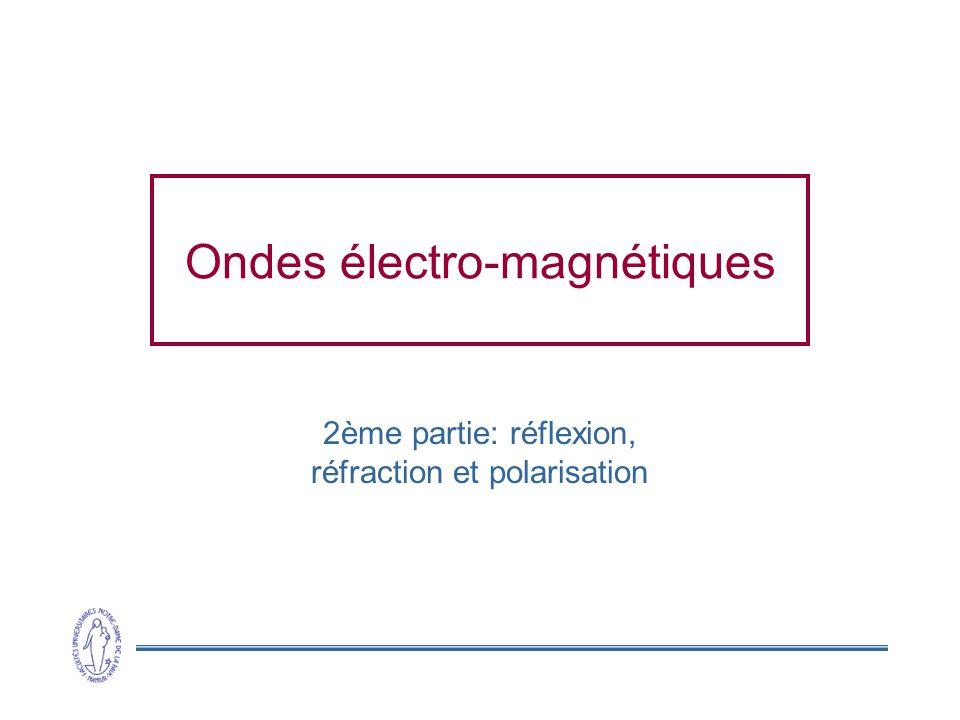 Ondes électro-magnétiques 2ème partie: réflexion, réfraction et polarisation