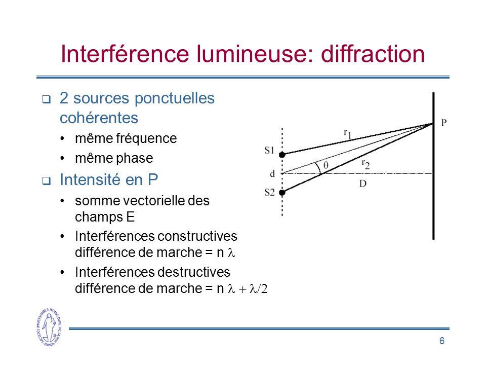 6 Interférence lumineuse: diffraction 2 sources ponctuelles cohérentes même fréquence même phase Intensité en P somme vectorielle des champs E Interfé