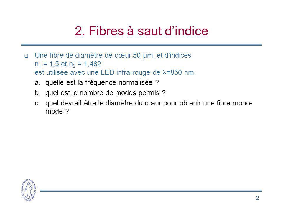 2 2. Fibres à saut dindice Une fibre de diamètre de cœur 50 µm, et dindices n 1 = 1,5 et n 2 = 1,482 est utilisée avec une LED infra-rouge de =850 nm.