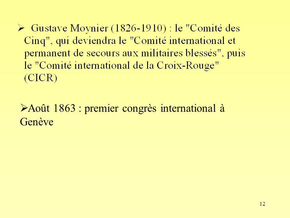 12 Août 1863 : premier congrès international à Genève