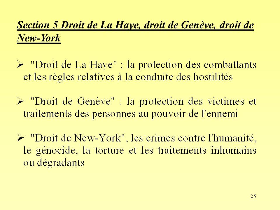 25 Section 5 Droit de La Haye, droit de Genève, droit de New-York