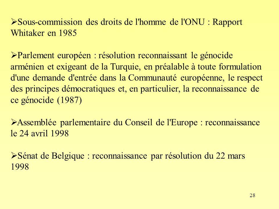 28 Sous-commission des droits de l'homme de l'ONU : Rapport Whitaker en 1985 Parlement européen : résolution reconnaissant le génocide arménien et exi