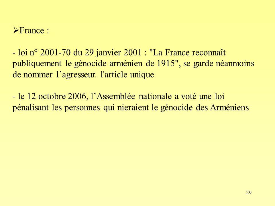 29 France : - loi n° 2001-70 du 29 janvier 2001 :