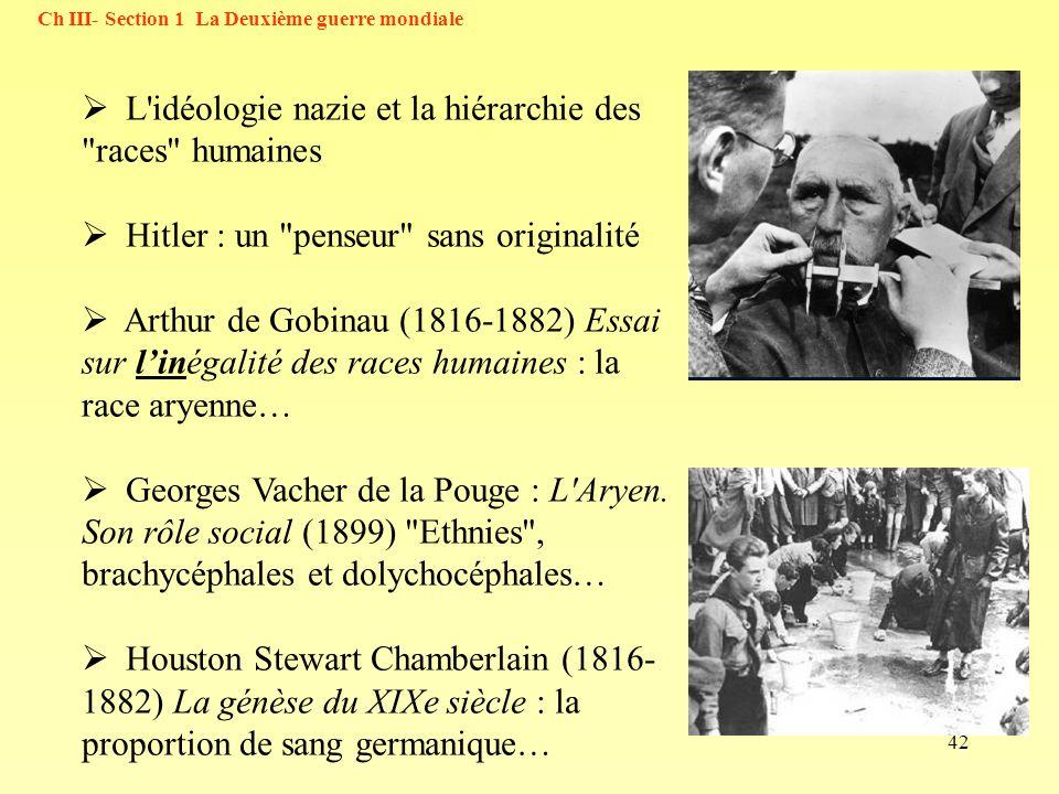 42 Ch III- Section 1 La Deuxième guerre mondiale L'idéologie nazie et la hiérarchie des