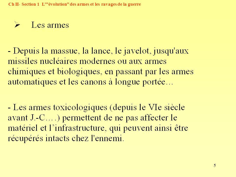 5 Ch II- Section 1 Lévolution des armes et les ravages de la guerre
