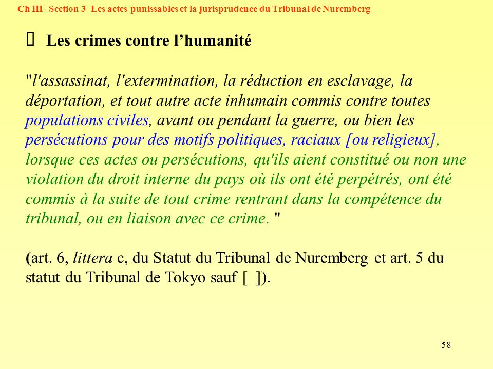 58 Ch III- Section 3 Les actes punissables et la jurisprudence du Tribunal de Nuremberg Les crimes contre lhumanité