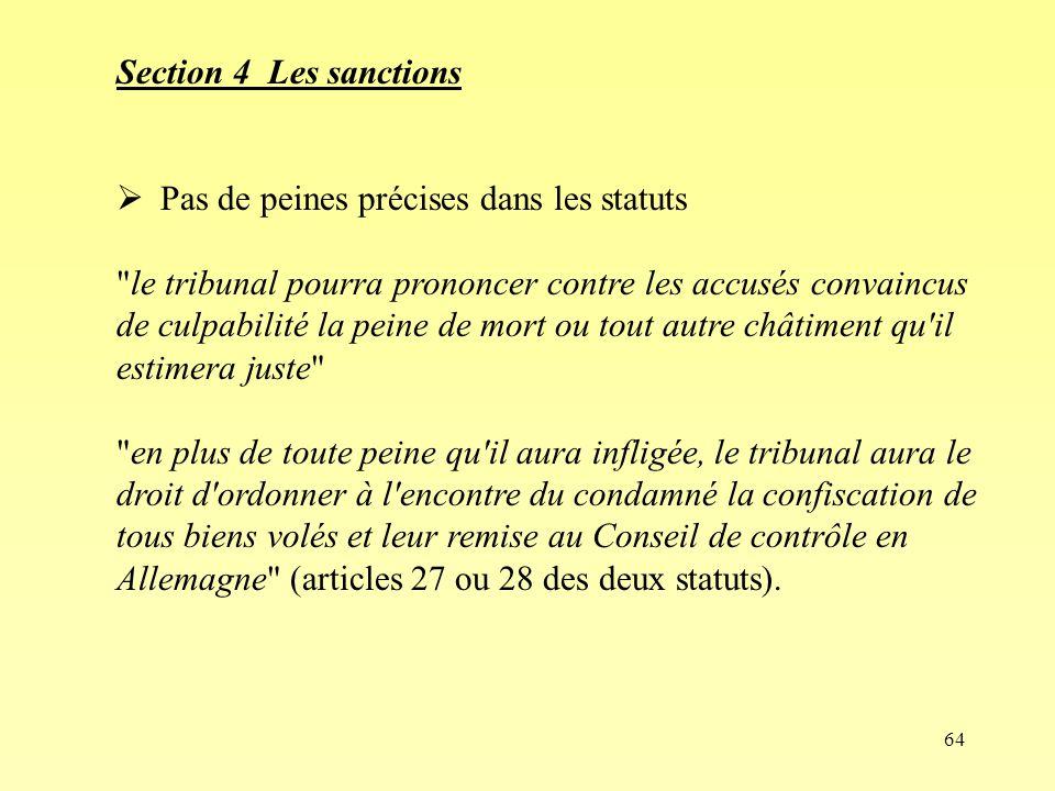 64 Section 4 Les sanctions Pas de peines précises dans les statuts