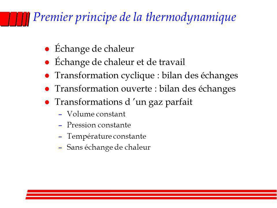 Premier principe de la thermodynamique l Échange de chaleur l Échange de chaleur et de travail l Transformation cyclique : bilan des échanges l Transformation ouverte : bilan des échanges l Transformations d un gaz parfait –Volume constant –Pression constante –Température constante –Sans échange de chaleur