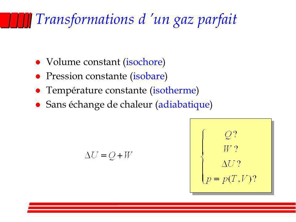 Transformations d un gaz parfait l Volume constant (isochore) l Pression constante (isobare) l Température constante (isotherme) l Sans échange de chaleur (adiabatique)