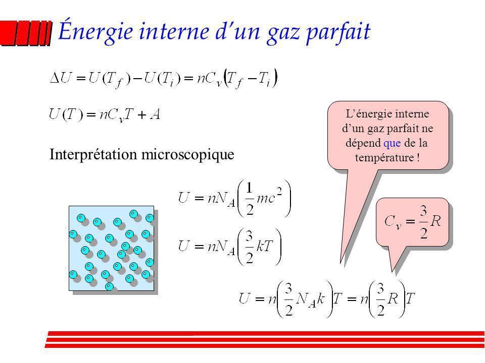 Énergie interne dun gaz parfait Interprétation microscopique Lénergie interne dun gaz parfait ne dépend que de la température .