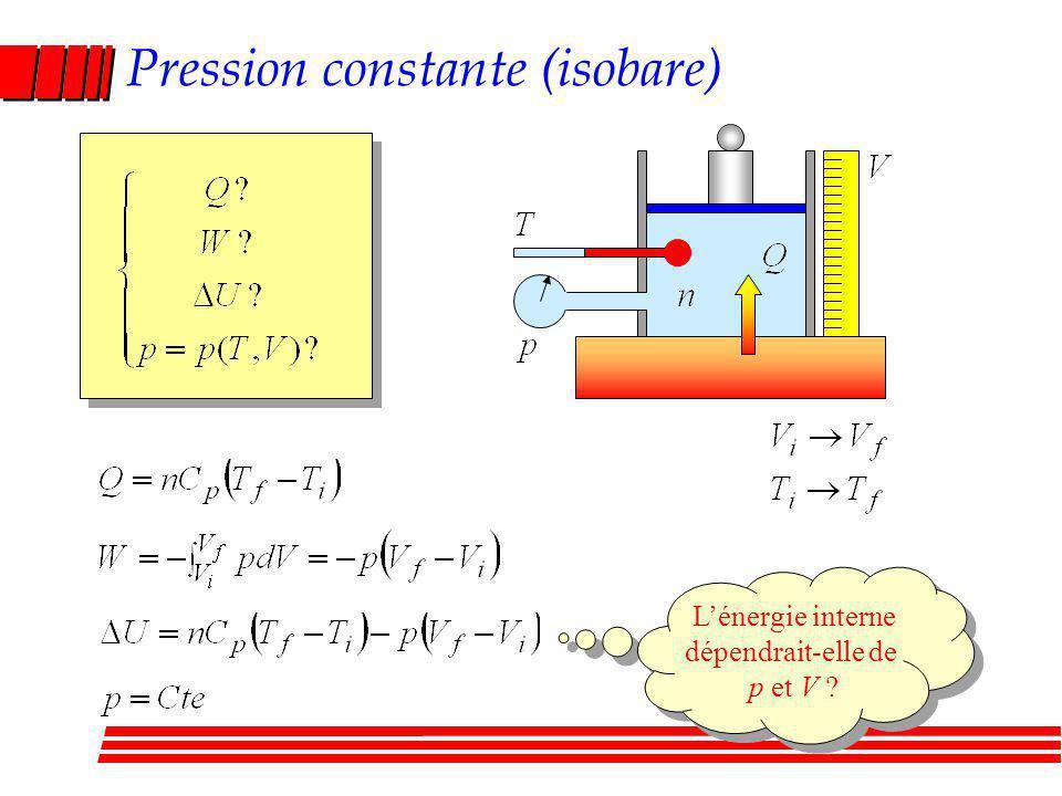 Pression constante (isobare) Lénergie interne dépendrait-elle de p et V .