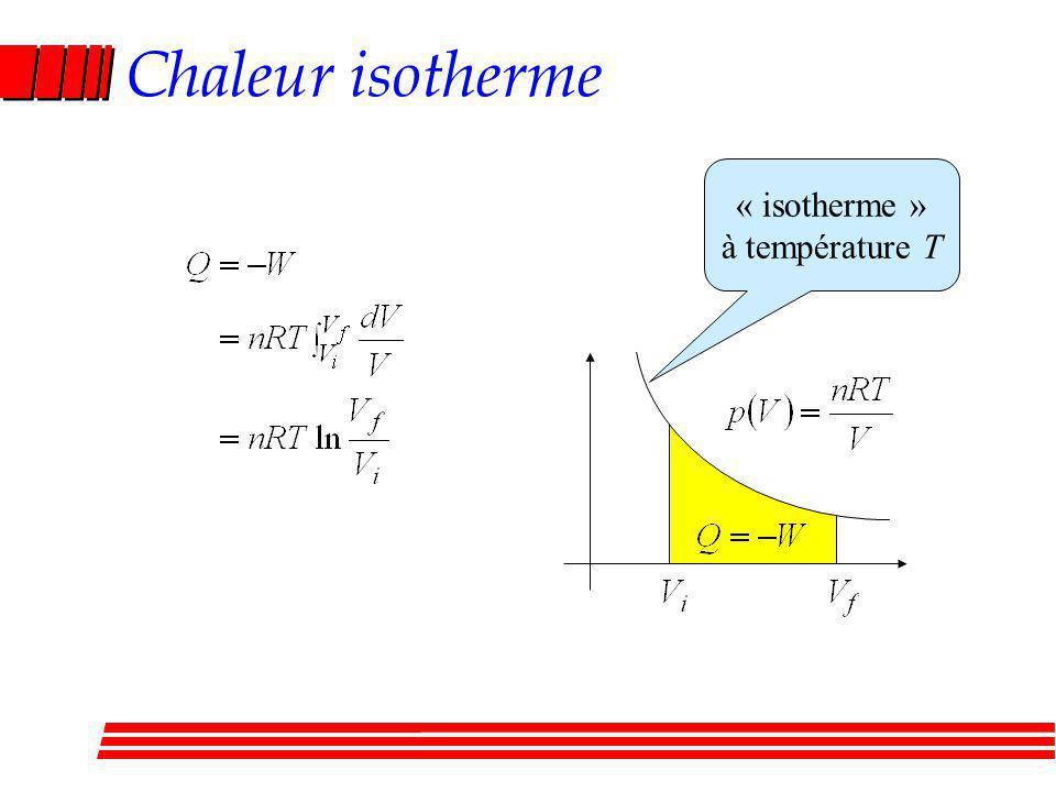 Chaleur isotherme « isotherme » à température T