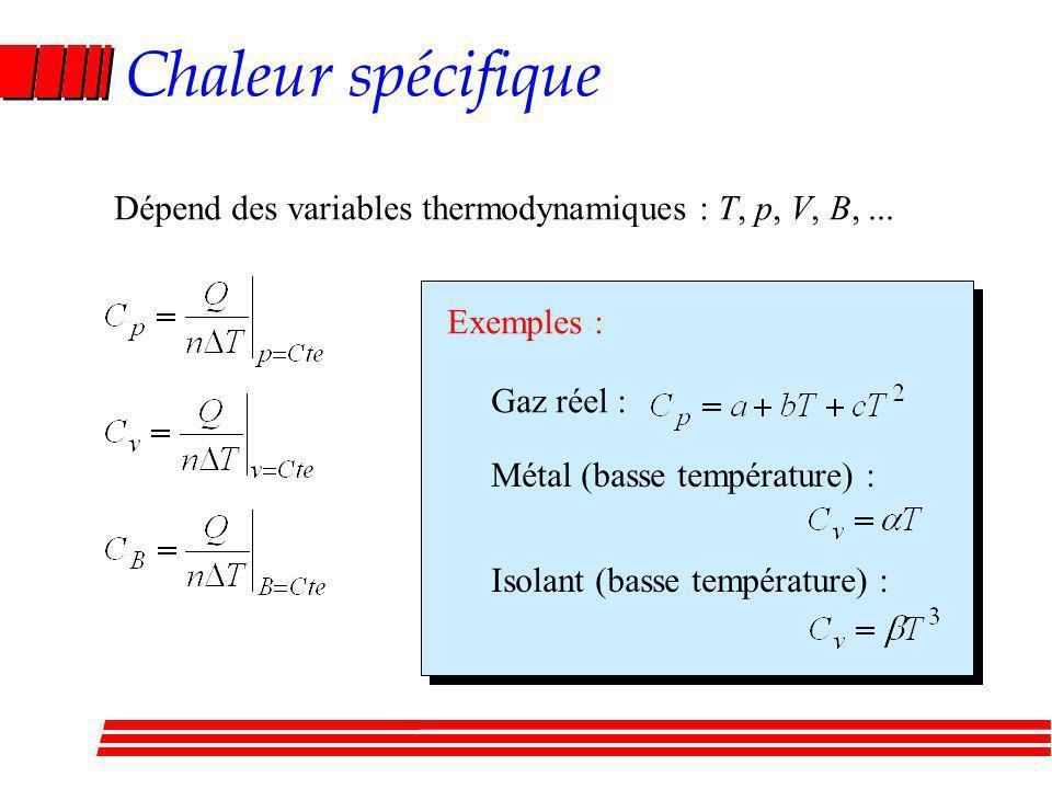 Chaleur spécifique Dépend des variables thermodynamiques : T, p, V, B,...