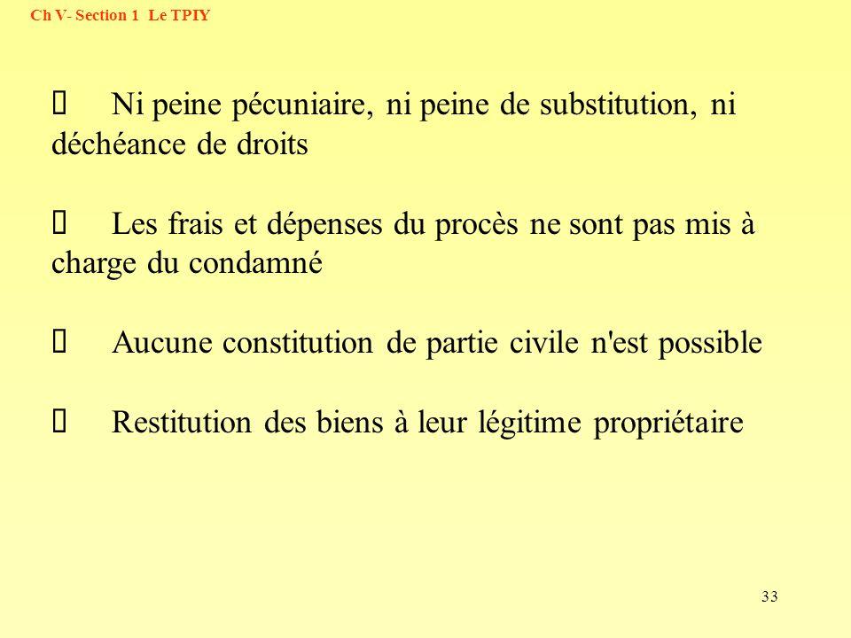 33 Ni peine pécuniaire, ni peine de substitution, ni déchéance de droits Les frais et dépenses du procès ne sont pas mis à charge du condamné Aucune c