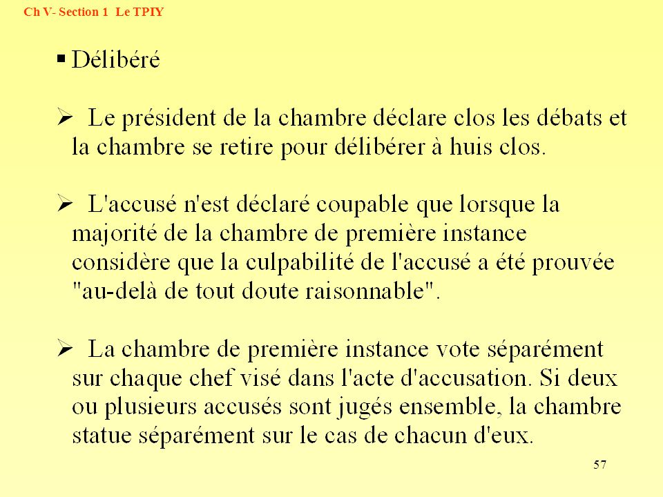 57 Ch V- Section 1 Le TPIY