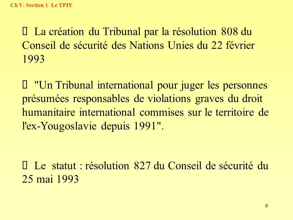 6 La création du Tribunal par la résolution 808 du Conseil de sécurité des Nations Unies du 22 février 1993
