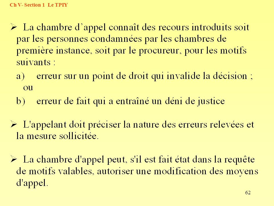 62 Ch V- Section 1 Le TPIY